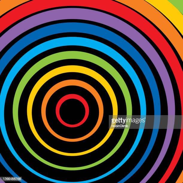 illustrazioni stock, clip art, cartoni animati e icone di tendenza di icona grafici cerchi a strisce arcobaleno - illusione