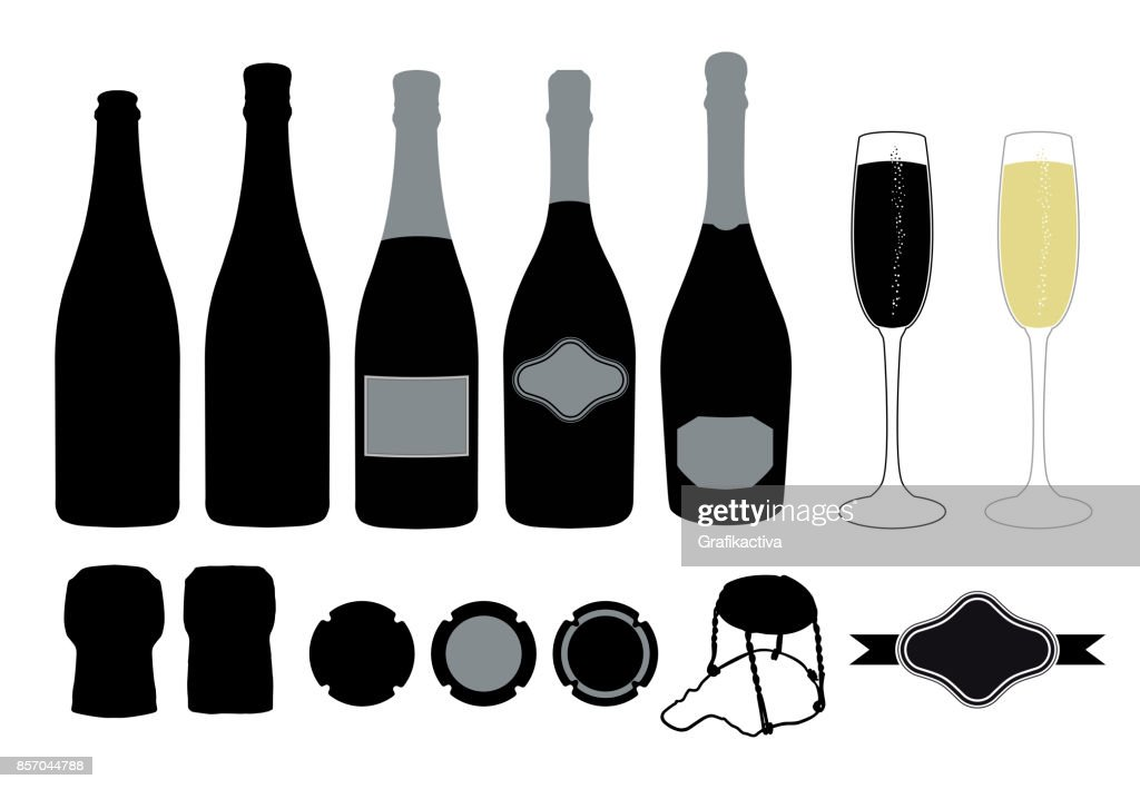 Graphic resource set for sparkling wine designs