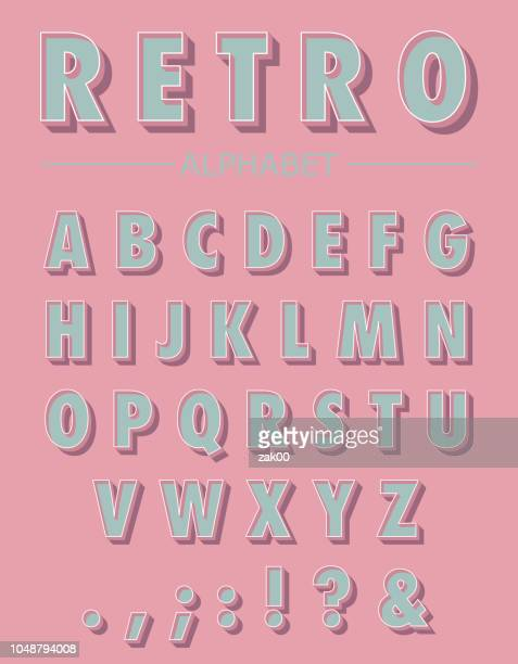 graphic retro letters set - collection stock illustrations