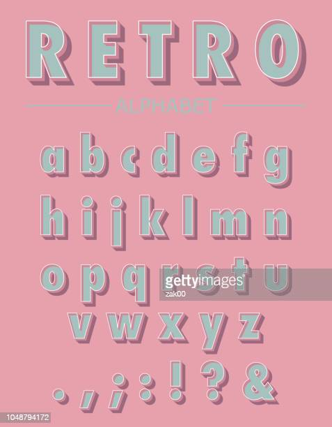 graphic retro letters set - obsolete stock illustrations