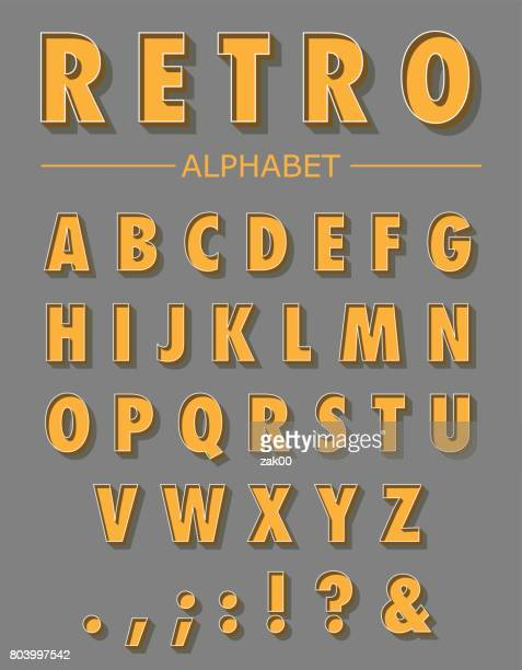 stockillustraties, clipart, cartoons en iconen met retro letters afbeeldingenset - bord bericht