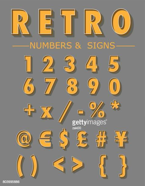 graphic retro numbers and signs set - number stock illustrations