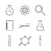 Graphic set science and chemical objects on white background. Ve