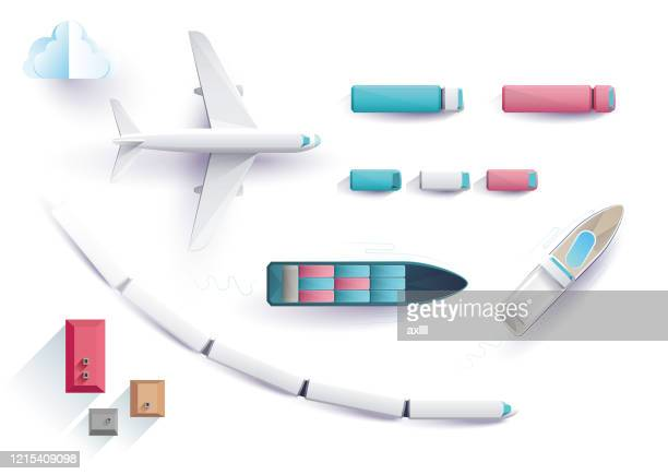 graphic set transportation - high angle view stock illustrations