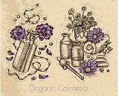 Graphic set with flowers and perfume bottles