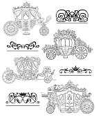 Graphic set with old carriages and vignette patterns