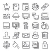 Graphic shop line icon set