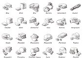 Graphic sketch of different cheeses.