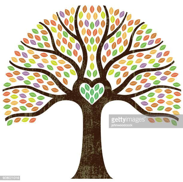 graphic small heart tree illustration - tree roots stock illustrations, clip art, cartoons, & icons