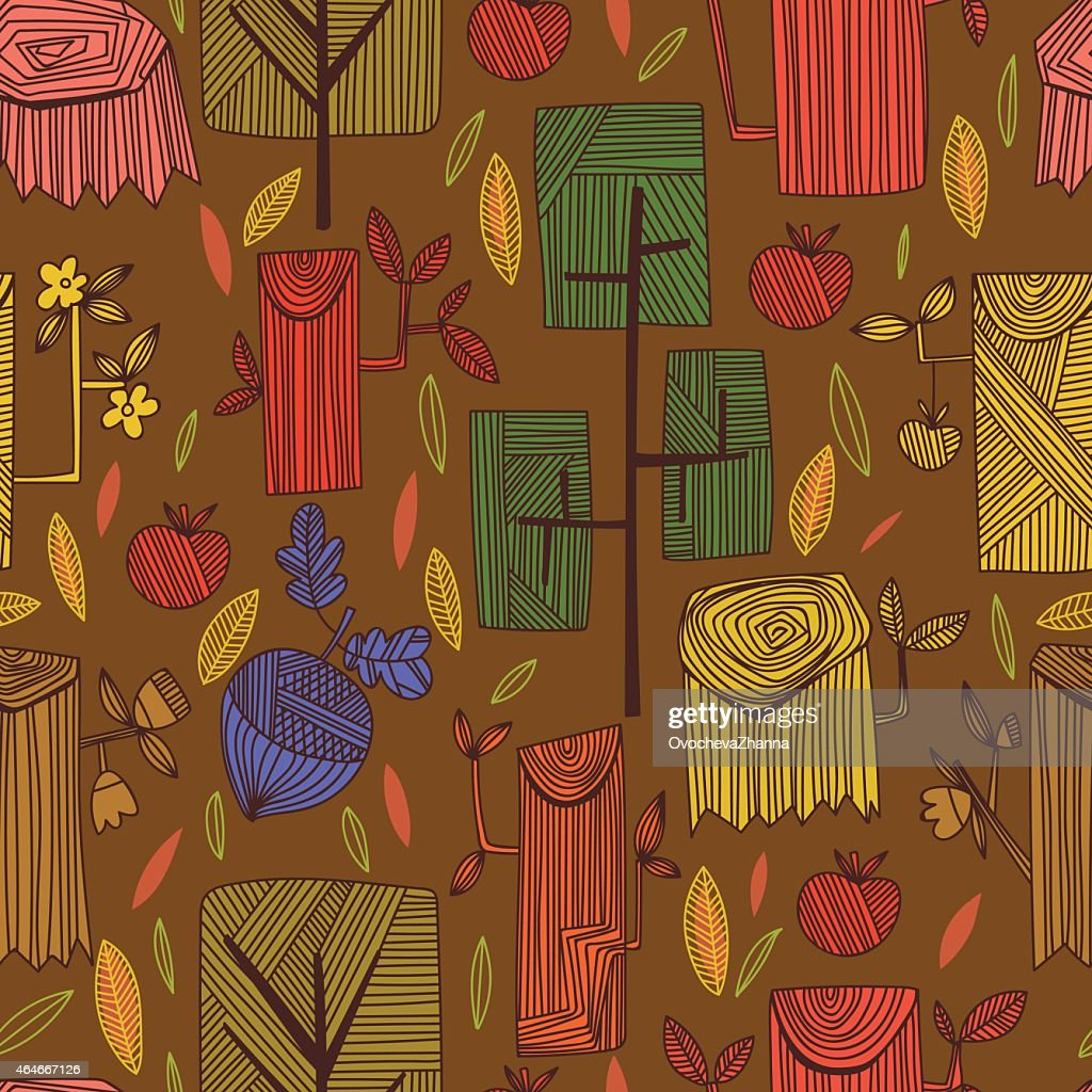 Graphic spring concept background in vector apples, hemp, and ac