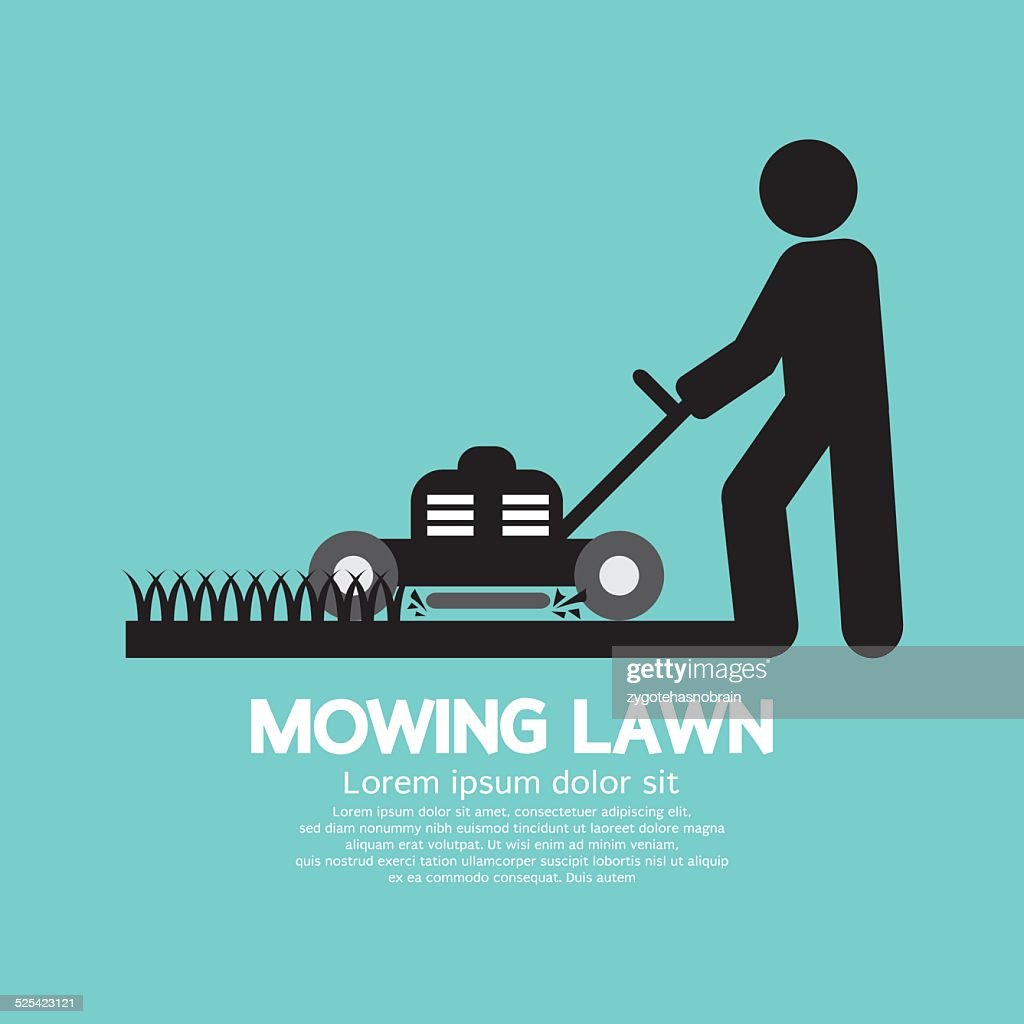 Graphic Symbol Of A Man Moving Lawn Vector Illustration