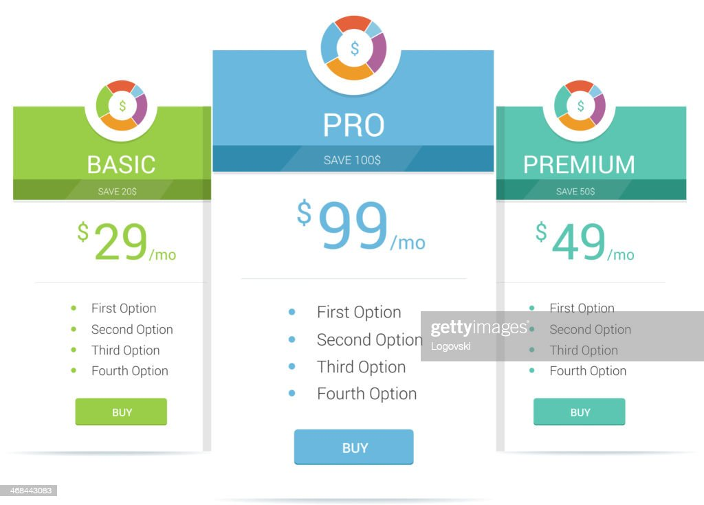 Graphic template for pricing options : stock illustration