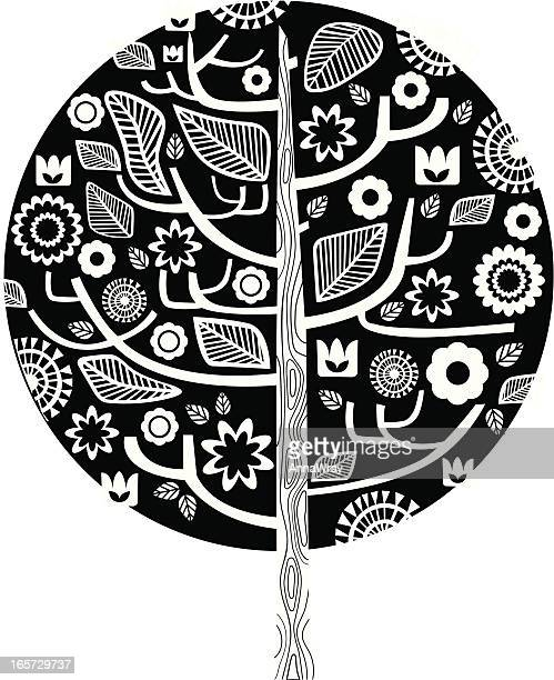 graphic tree - plant attribute stock illustrations, clip art, cartoons, & icons