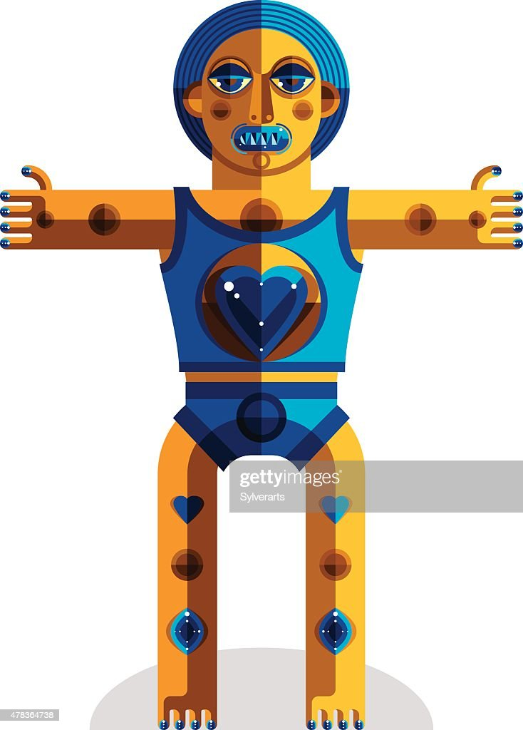 Graphic vector illustration, anthropomorphic character isolated