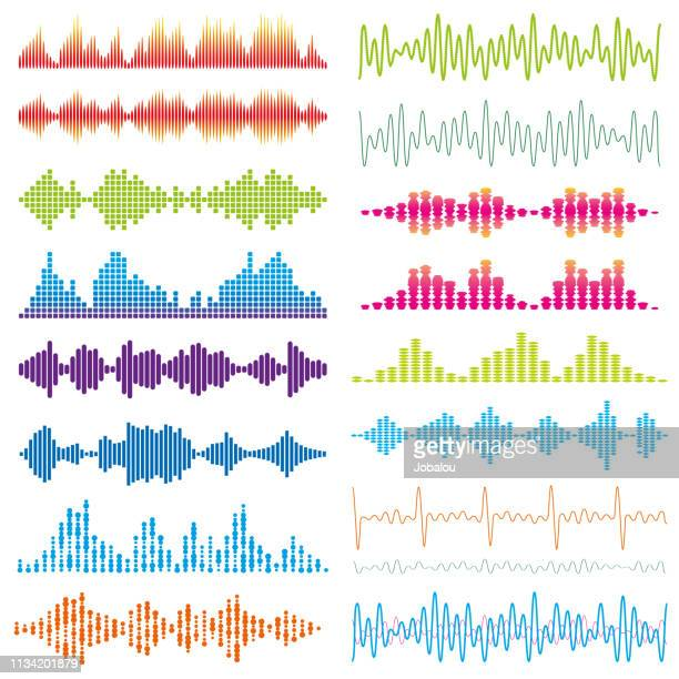 graphic waves acoustic sound - sound recording equipment stock illustrations