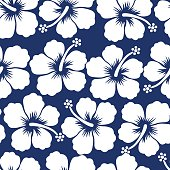 Graphic white tropical hibiscus flowers seamless pattern