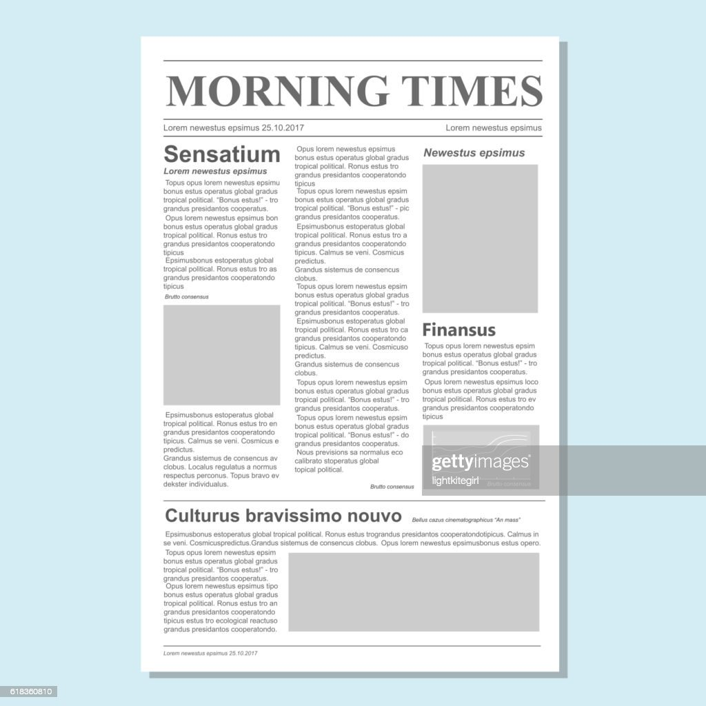 Graphical design newspaper journal template vector Paper tabloid on newsprint
