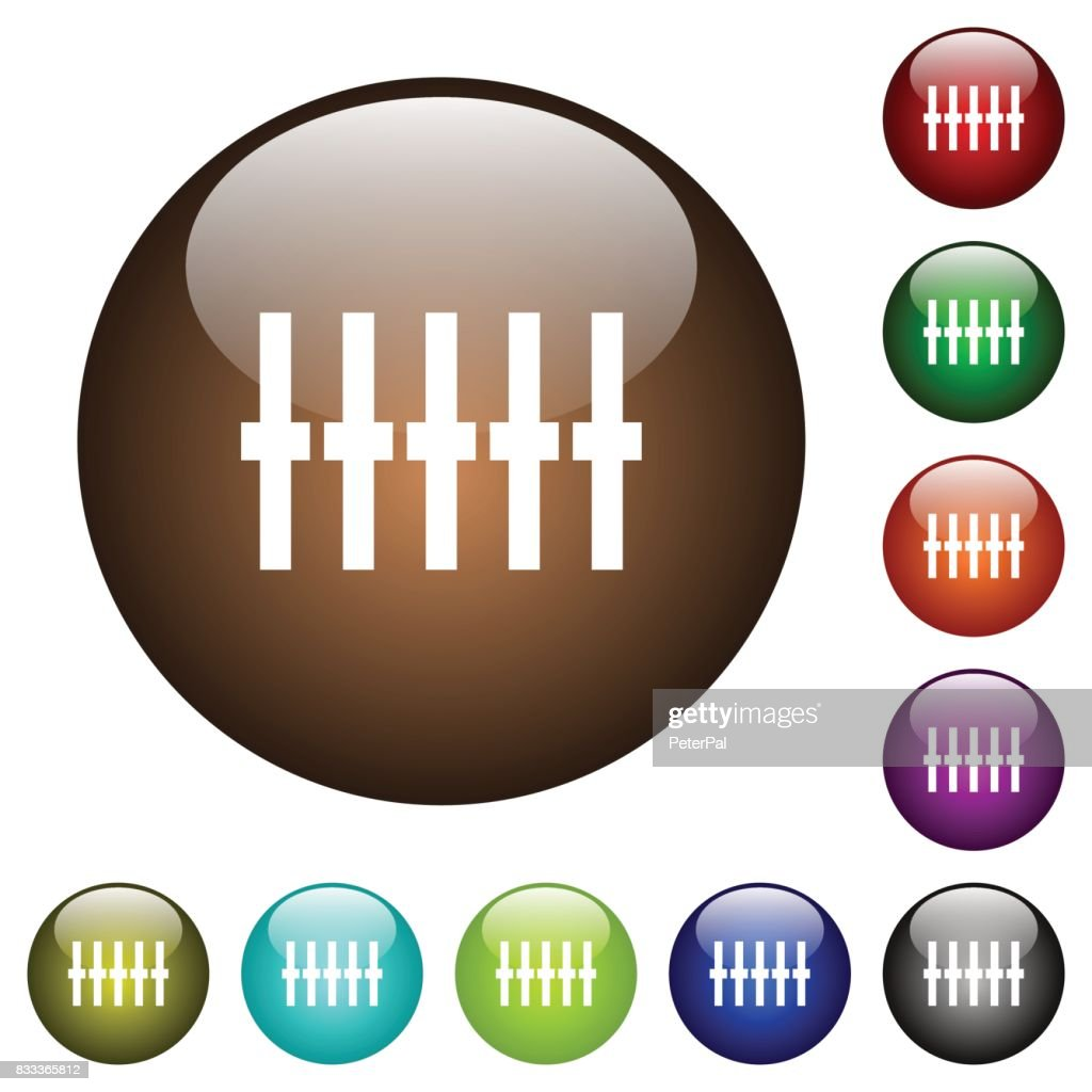 Graphical equalizer color glass buttons