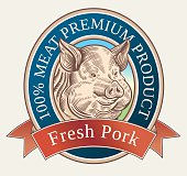 Graphical pig in label.