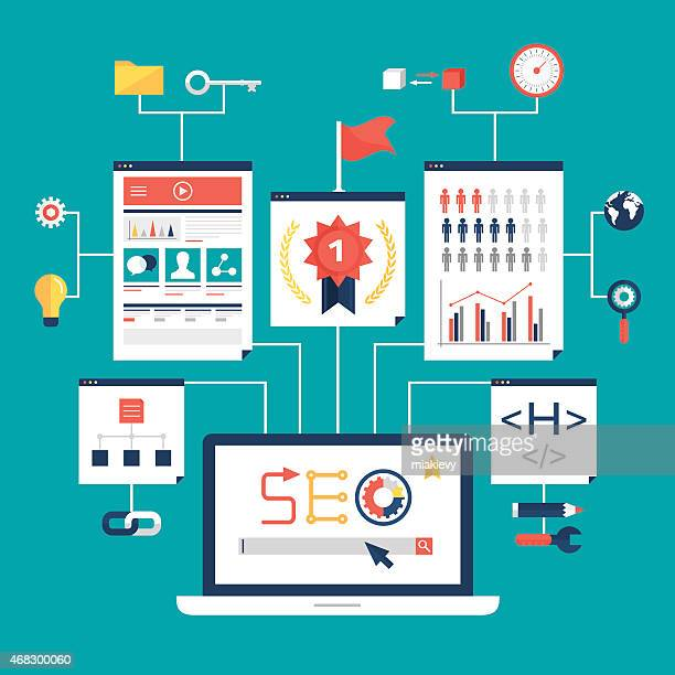 A graphical schematic explaining search engine optimization