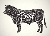 Graphical silhouette bull.