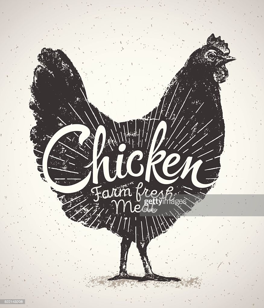 Graphical silhouette chicken.