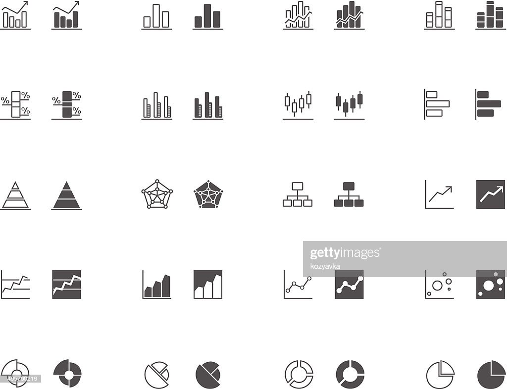 Graphics and chart outline and filled icon set