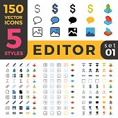Graphics Editor web mobile UI vector icon set in Linear outline flat isometric styles. Five types software and website symbols of 2d and 3d objects. App user interface elements collection.