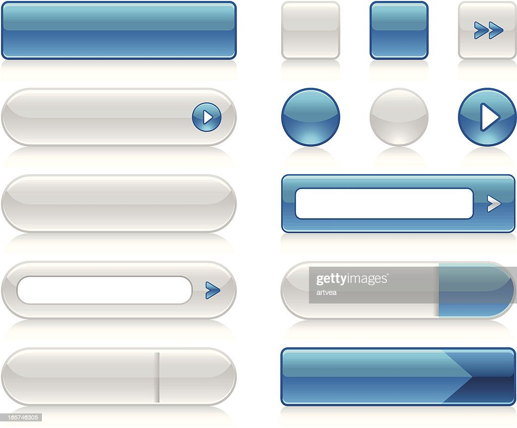 Graphics of blue and white function buttons
