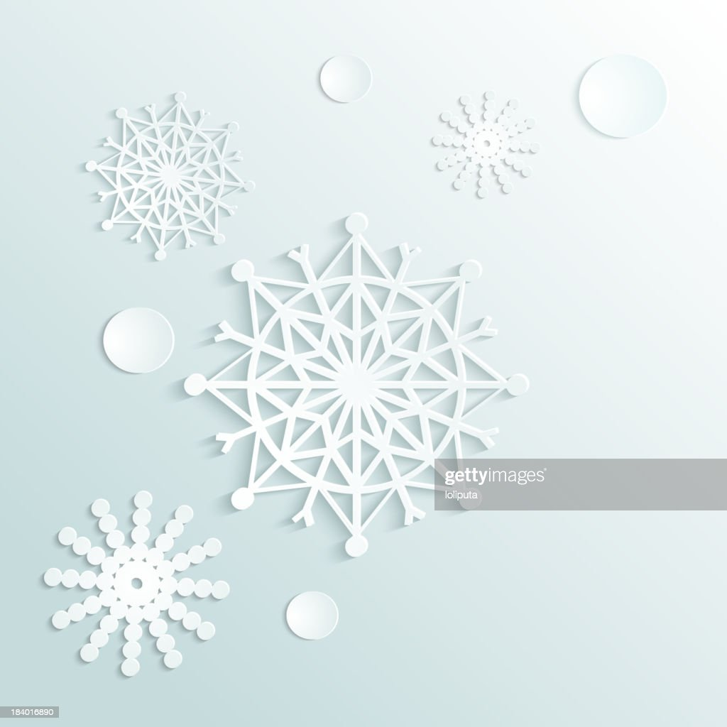 Graphics of snowflakes on a light colored background