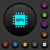 Graphics processing unit dark push buttons with color icons