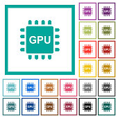 Graphics processing unit flat color icons with quadrant frames