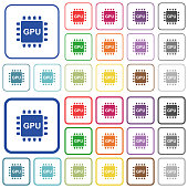 Graphics processing unit outlined flat color icons