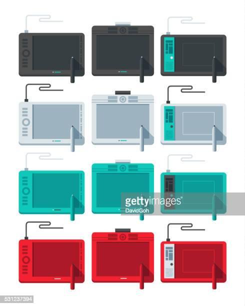 illustrations, cliparts, dessins animés et icônes de tablette graphique conception plat ensemble - graphiste