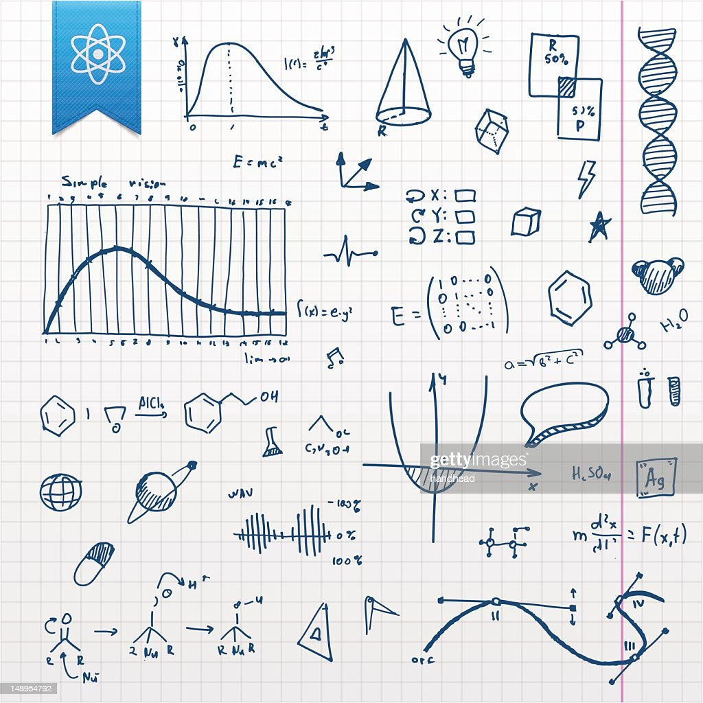 Graphing paper with several scientific doodles : stock illustration