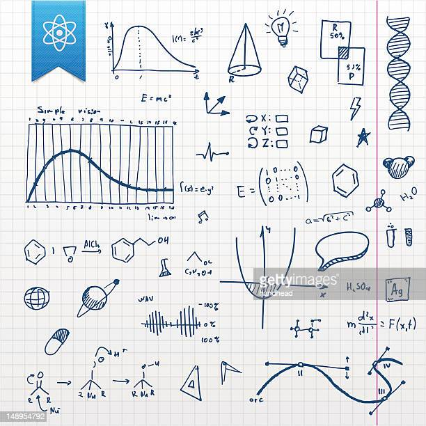graphing paper with several scientific doodles - physics stock illustrations