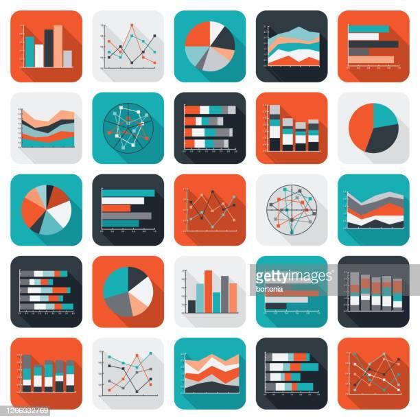 diagramme und diagramme datensymbol-set - zwischenbericht stock-grafiken, -clipart, -cartoons und -symbole