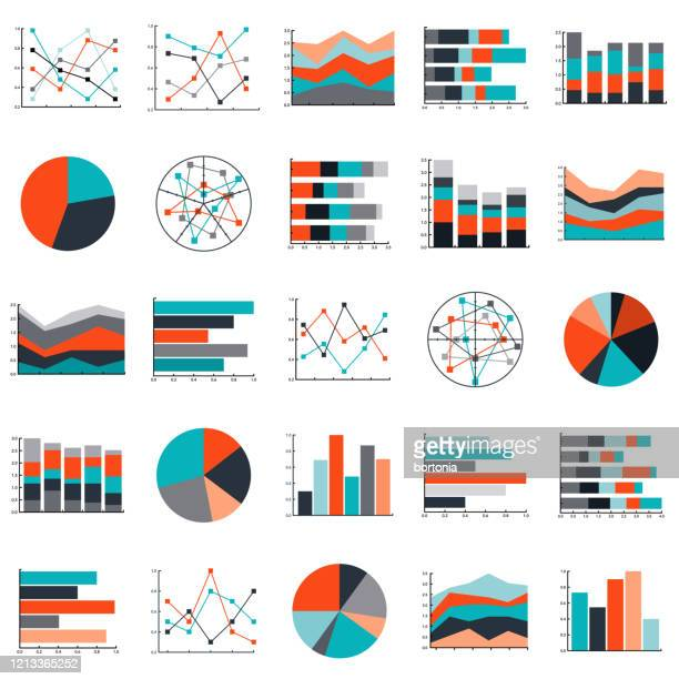 ilustraciones, imágenes clip art, dibujos animados e iconos de stock de conjunto de icones de gráficos y gráficos - panel de indicadores medios visuales