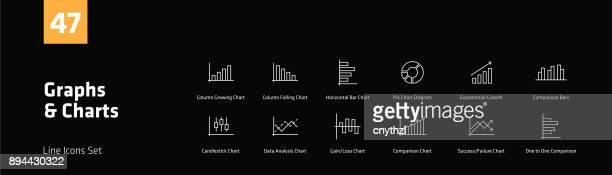 Graphs and Charts Line Icons Set