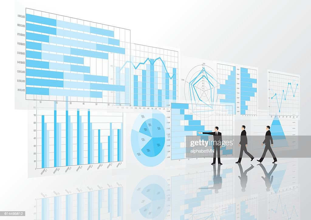 Graphs, charts and businessman. Business image.