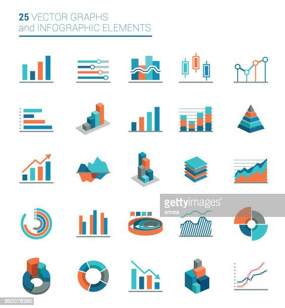 graphs, charts and infographics elements - graph stock illustrations