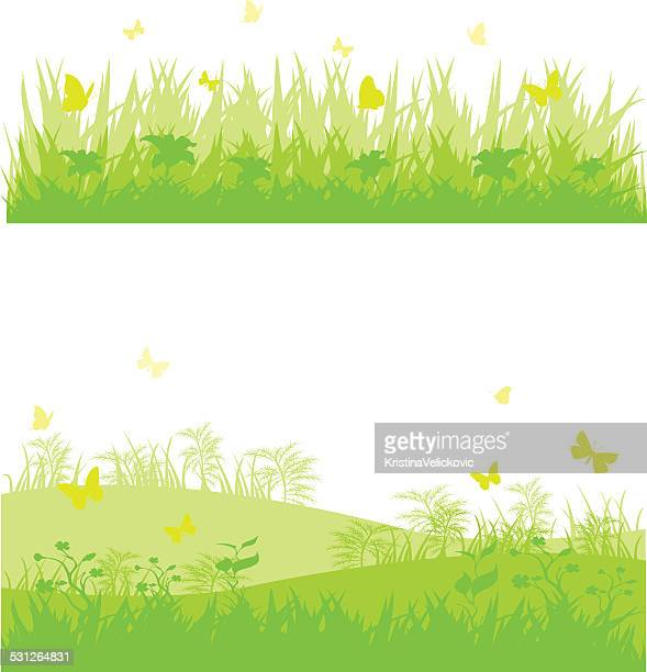 grass banners - grass stock illustrations, clip art, cartoons, & icons