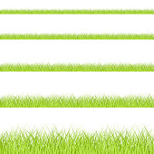 Grass border set, seamless vector illustration