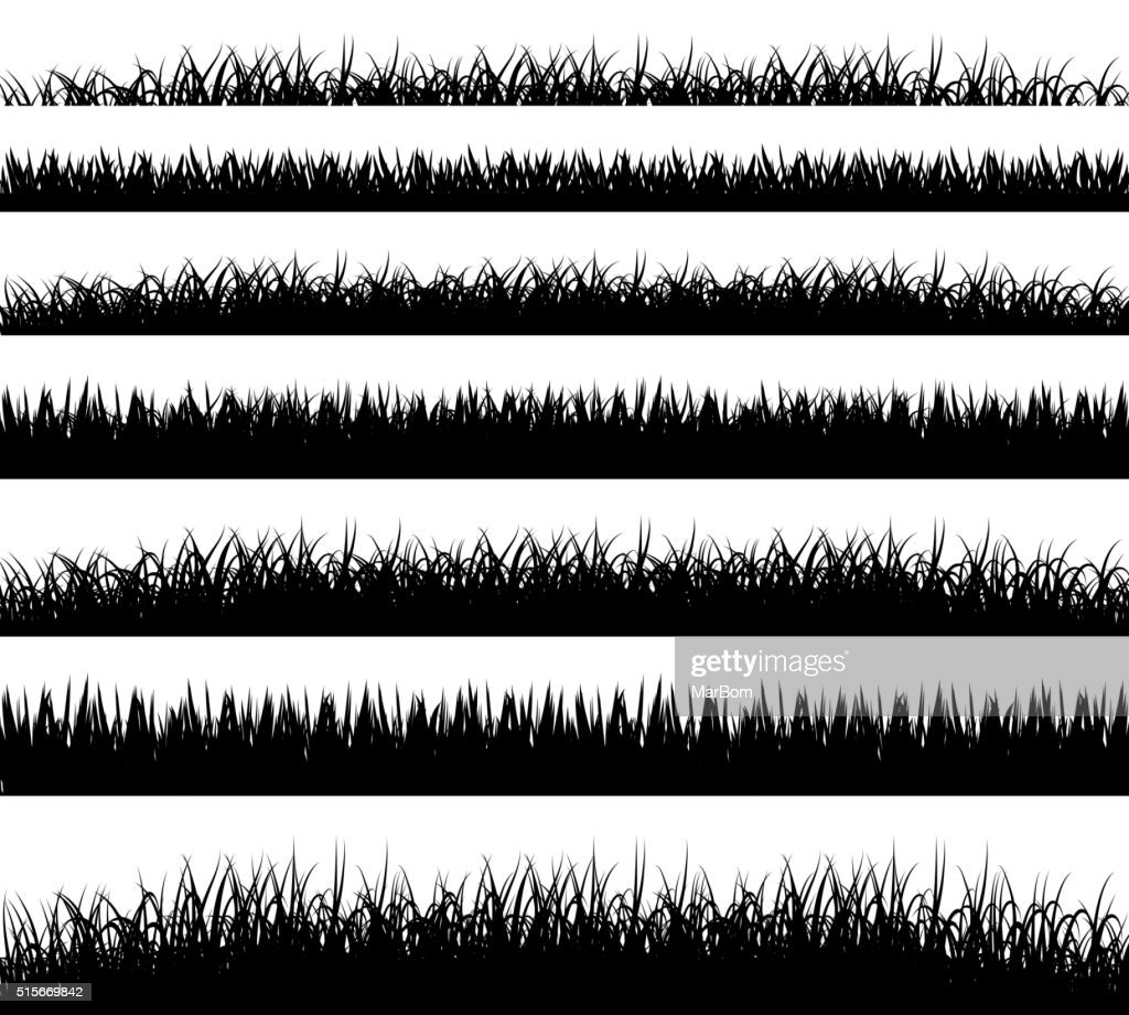 Grass borders silhouette on white background