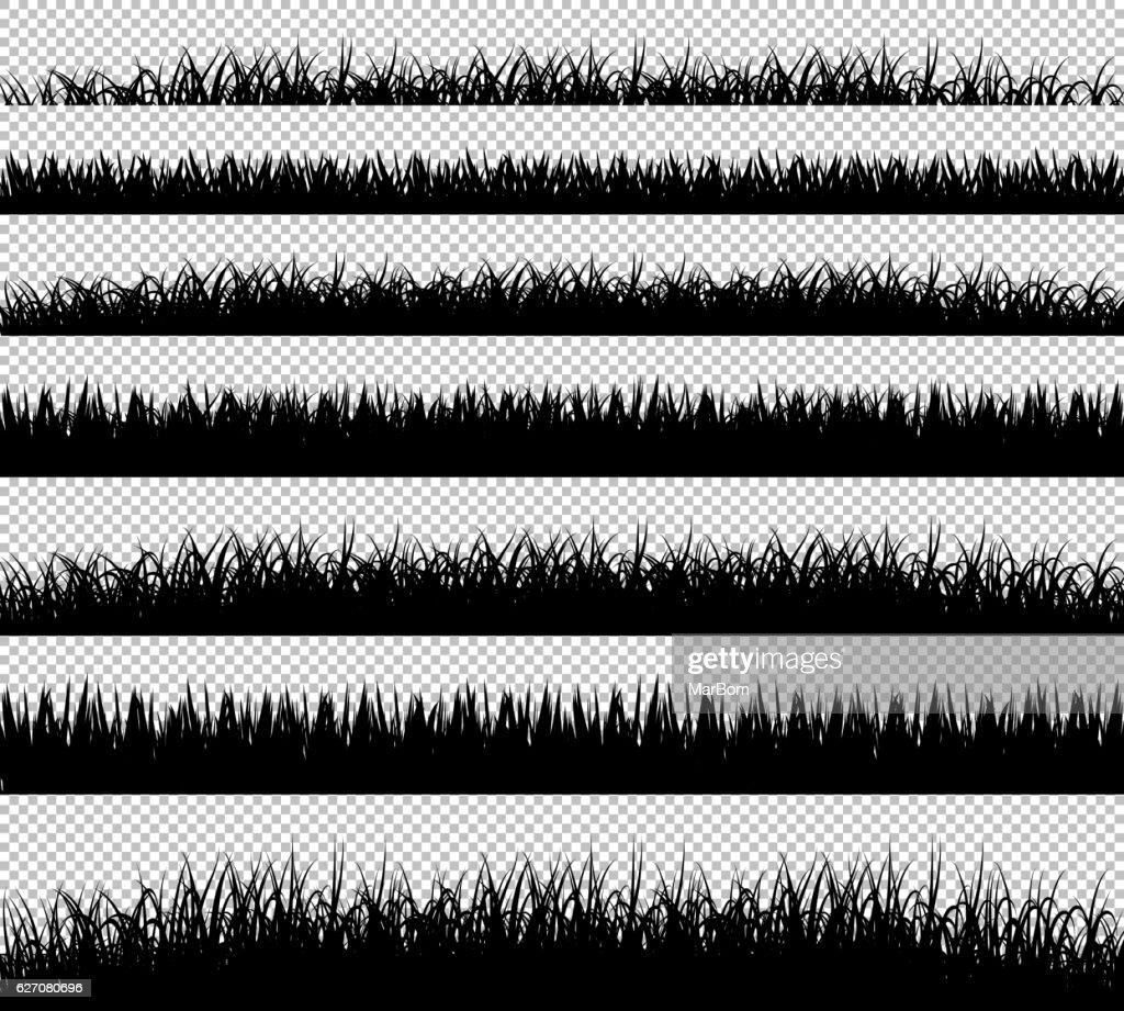 Grass borders silhouette set on transparent background vector