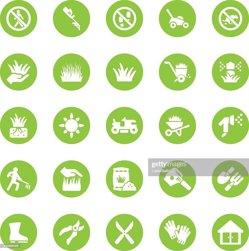 Grass Circle Green icons | EPS10 : stock illustration