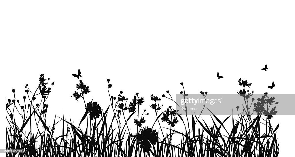 Grass Field With Butterfly Silhouette : Stock Illustration