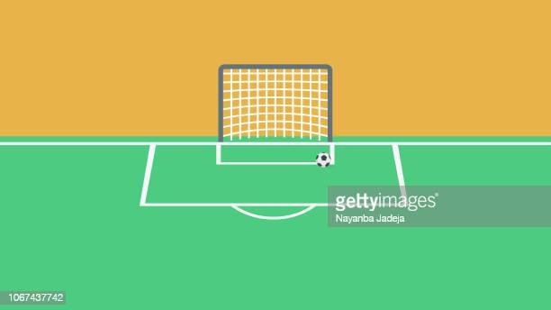 stockillustraties, clipart, cartoons en iconen met voetbal voetbal grasveld, vectorillustratie - aspiraties