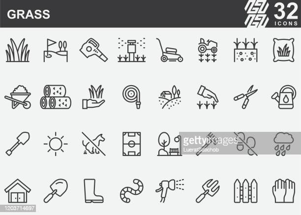 grass line icons - outdoors stock illustrations