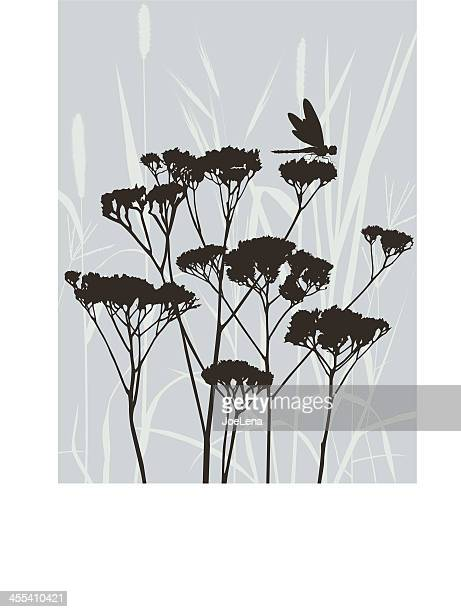 grass silhouette and a dragonfly - odonata stock illustrations, clip art, cartoons, & icons